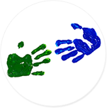 Green and blue handprints reaching toward each other